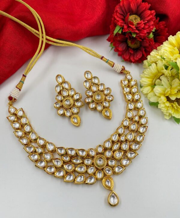 Gold Platd Kundan Necklace Set