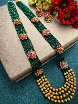 Traditional multi layered green beaded necklace