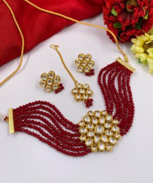 Red Beads Kundan Choker Necklace Set