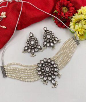 Victorian Oxidized Kundan Choker Necklace