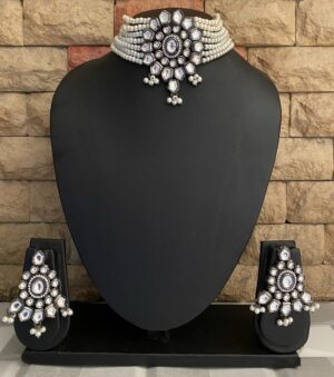 Victorian Oxidized kundan Choker Necklace Set