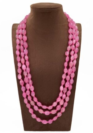 Pink Jade Beaded Necklace
