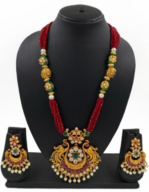 Gold Plted Antique Pendant Necklace Set