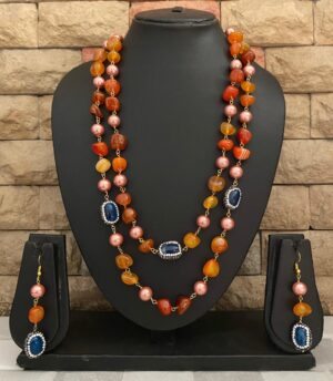 Orange Onyx Beaded Necklace Set