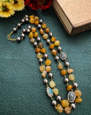 Yellow Onyx Beaded Necklace