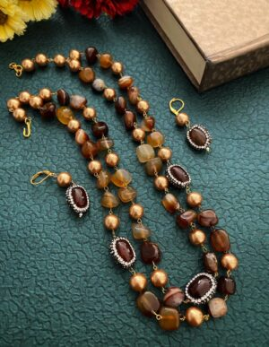 Brown Onyx Beaded Necklace