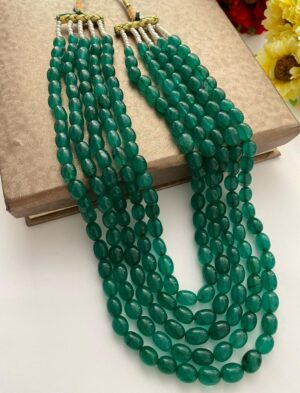 Long Green Quartz Beads Necklace