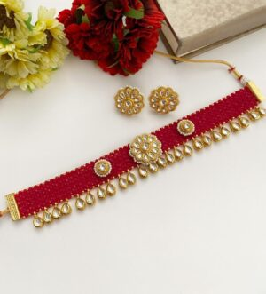 Rani Pink Beaded Chatai Choker Necklace Set