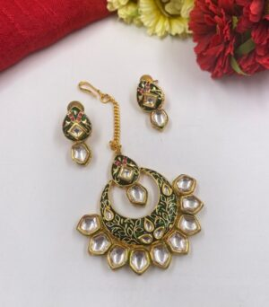 Green Meenakari Kundan Tikka earrings Set