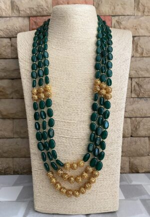 Green Layered Beaded necklace
