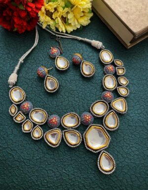 Oxidised Polki Kundan Necklace Set