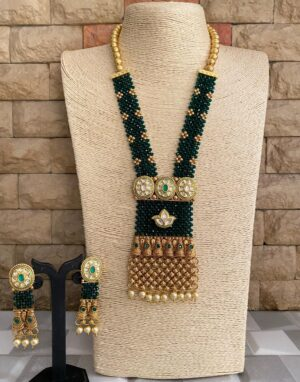 Green Golden Pendant Necklace Set