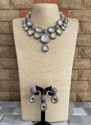 Oxidised Kundan Polki necklace