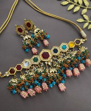 Latest bridal choker Necklace Set design
