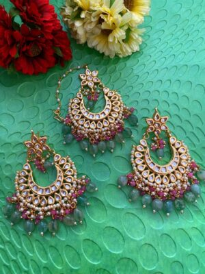 Kundan Earrings Tikka Set