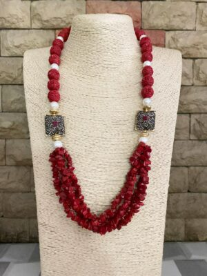 Beads Necklace Designs For Sarees