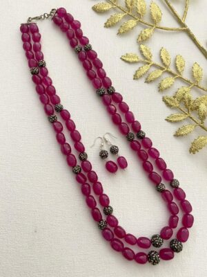 Magenta Color Beads Necklace