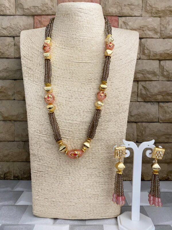 Long Beaded Crystal Necklace