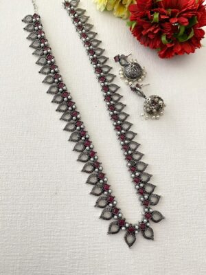 oxidised silver long necklace