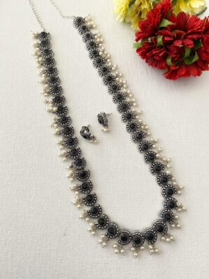silver oxidised long necklace