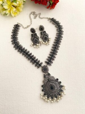oxidized silver necklace online