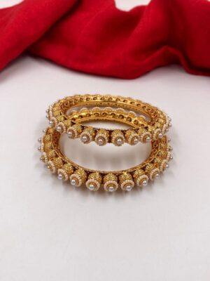 Gold Plated Pearls Bangles